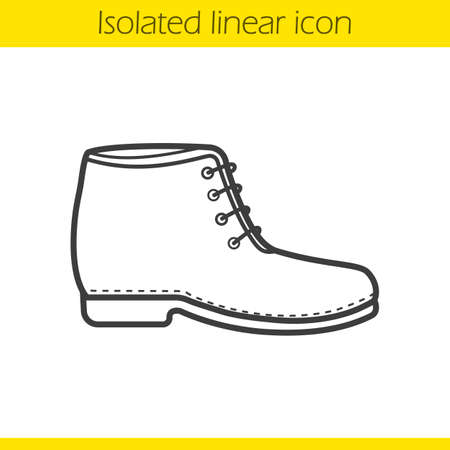 Boot linear icon. Male and female winter shoe. Fashion winter footwear thin line illustration. Shoe contour symbol. Vector isolated outline drawing Illustration