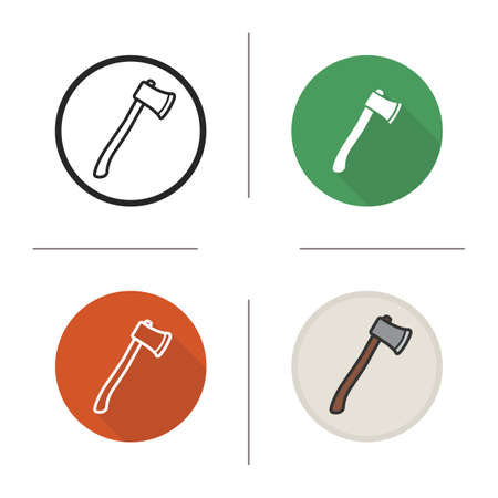 hatchet: Axe icon. Flat design, linear and color styles. Hatchet. Ax isolated vector illustrations