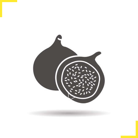 fig: Fig icon. Drop shadow silhouette symbol. Common fig fruit vector isolated illustration