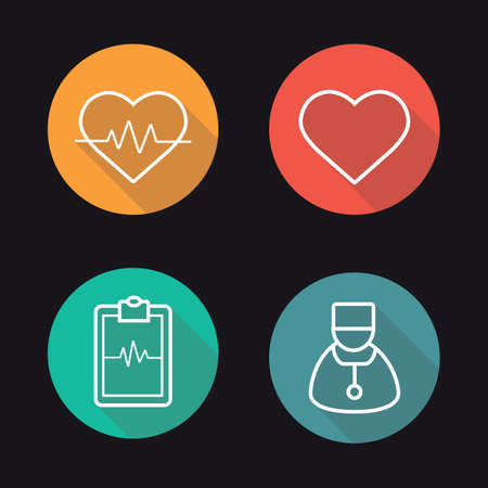 cardiologist: Cardiology flat linear long shadow icons set. Heart pulse analysis, heart, ecg curve and cardiologist. Vector line symbols Illustration