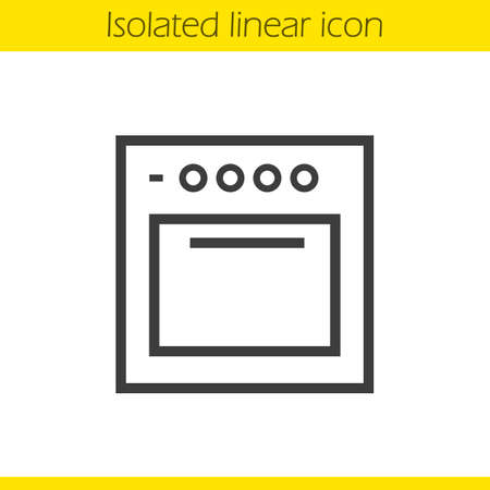 gas cooker: Stove linear icon. Gas cooker thin line illustration. Oven contour symbol. Vector isolated outline drawing Illustration