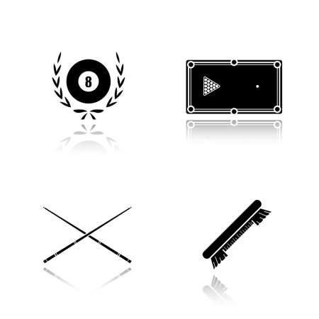 pool cues: Billiard equipment drop shadow black icons set. Billiard brush, table, cues and eight ball in laurel wreath. Pool accessories isolated vector illustrations