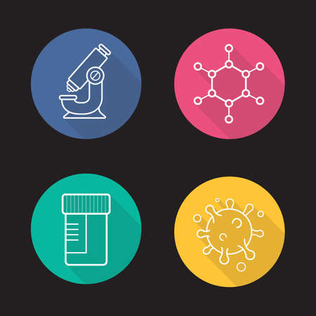 microbial: Science laboratory flat linear long shadow icons set. Microscope, molecule and virus structure, medical tests jar. Vector line symbols Illustration