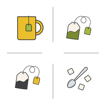 ceylon: Tea color icons set. Teacup, black and green tea bags and spoon with raffinade. Vector isolated illustrations