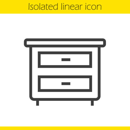 bedside: Nightstand linear icon. Thin line illustration. Bedside table with drawers contour symbol. Vector isolated outline drawing Illustration