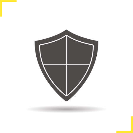 defence: Shield icon. Negative space. Drop shadow silhouette symbol. Protection, security, defence, guard, armour and safety emblem. Vector isolated illustration