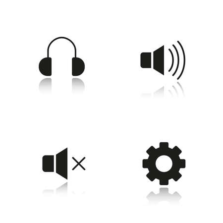 cast off: Audio player interface drop shadow black icons set. Mute on and off buttons, headphones and settings symbols. Music player menu isolated vector illustrations Illustration