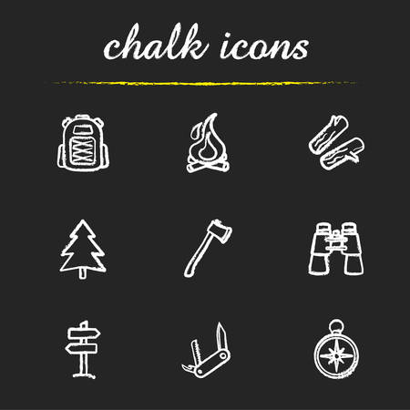 pocket knife: Camping icons set. Backpack, campfire, firewood, fir tree, axe, binoculars, wooden way direction, pocket knife, compass illustrations. Travelling isolated vector chalkboard drawings