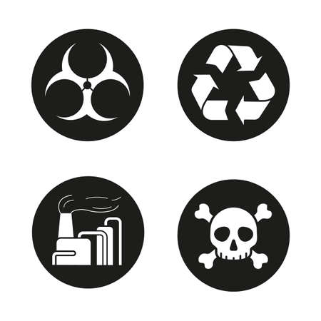 chemical plant: Industrial pollution icons set. Biohazard and recycle symbols, chemical plant and skull with crossbones. Vector white illustrations in black circles Illustration