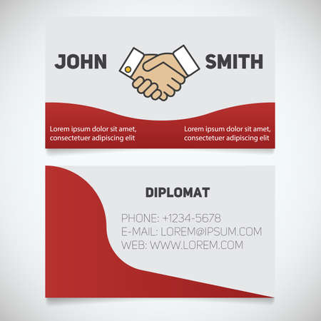 logo handshake: Business card print template. Diplomat. Handshake. Agreement logo. Stationery design concept. Vector illustration