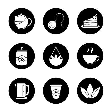 Tea icons set. Tea shop items. Teapot and ball infuser, cake, loose tea leaves, container, bowl, steaming cup, electric kettle and takeaway papercup. Vector white illustrations in black circles