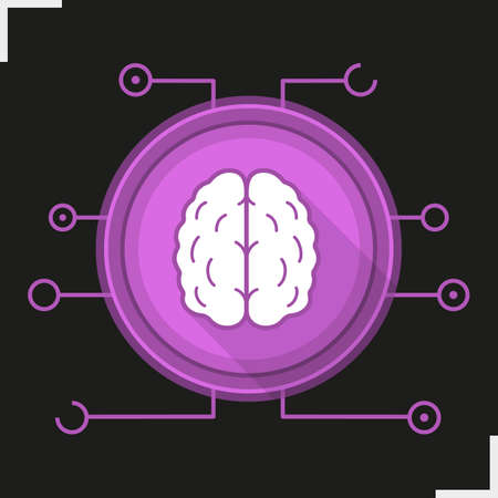 neural: Neural networks flat design long shadow icon. Neurology. Human brain. Artificial intelligence vector silhouette symbol