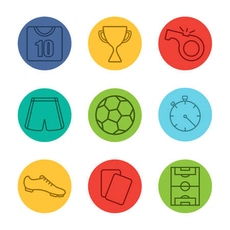 ball field: Soccer equipment linear icons set. Football player kit, soccer ball, field, award, whistle, referee cards, stopwatch. Soccer shirt, shorts and boot. Thin line on color circles. Vector illustrations Illustration
