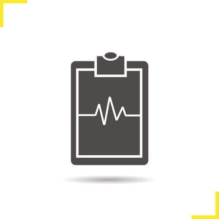 heartbeat line: Cardiogram clipboard icon. Drop shadow ekg silhouette symbol. Heartbeat line. Negative space. Vector isolated illustration