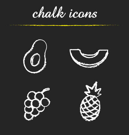 halved: Fruit icons set. Halved avocado, sliced melon, bunch of grapes, pineapple illustrations. Isolated vector chalkboard drawings