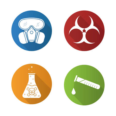 Chemical industry flat design long shadow icons set. Gas mask, danger liquid, chemical test and biohazard symbols. Vector symbols Illustration
