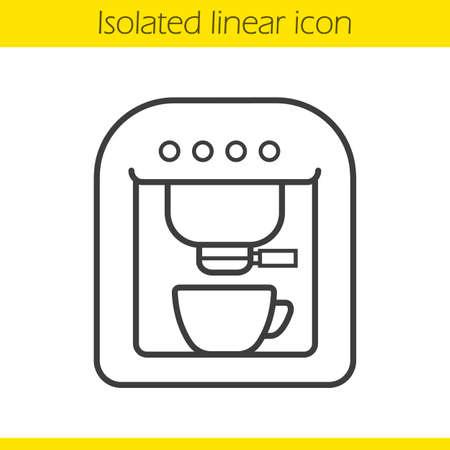 espresso: Coffee machine linear icon. Espresso machine thin line illustration. Coffee maker contour symbol. Vector isolated outline drawing