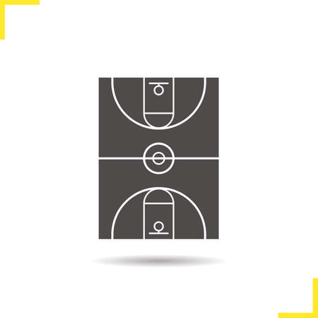 negative area: Basketball field icon. Negative space. Drop shadow silhouette symbol. Vector isolated illustration