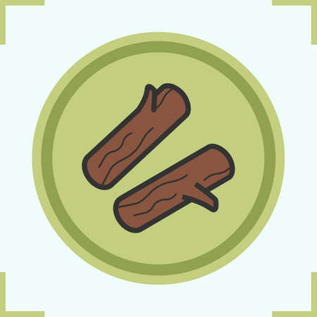 logs: Firewood color icon. Campfire logs. Vector isolated illustration Illustration