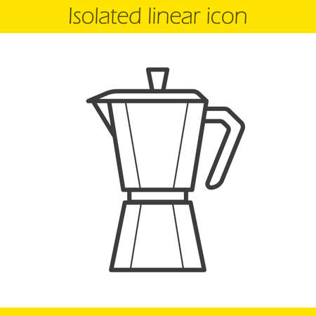 mocha: Moka pot linear icon. Classic coffee maker thin line illustration. Mocha pot contour symbol. Vector isolated outline drawing