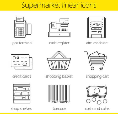 cash dispense: Supermarket linear icons set. Pos terminal, cash register, atm machine, credit card, shopping basket and cart, shop shelves, barcode, cash and coins. Thin line. Isolated vector illustrations