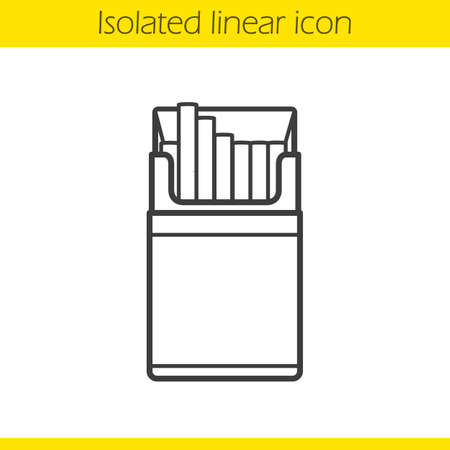 cigarette pack: Open cigarette pack linear icon. Thin line illustration. Contour symbol. Vector isolated outline drawing