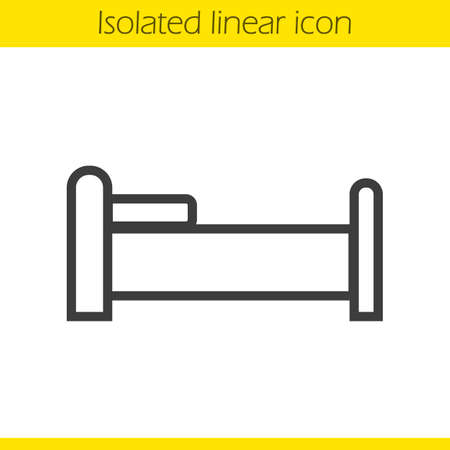 bedtime: Bed linear icon. Sleeping furniture item thin line illustration. Bedtime contour symbol. Vector isolated outline drawing