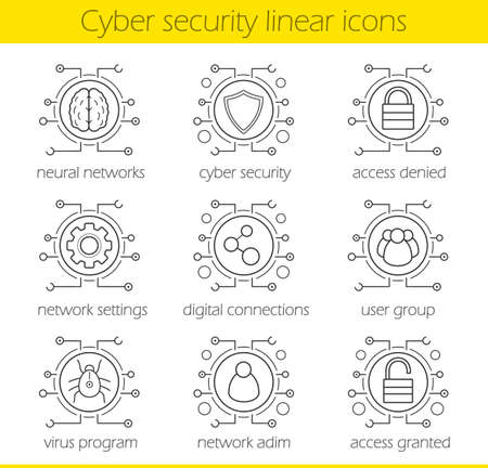admin: Cyber security linear icons set. Digital technology and cloud computing concepts. Neural networks, access, settings, digital connections, admin, user, virus. Thin line. Isolated vector illustrations