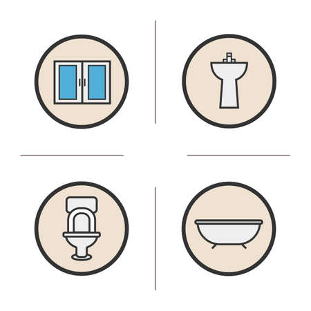 washstand: Bathroom color icons set. Cabinet, bath, toilet, washstand. Vector isolated illustrations