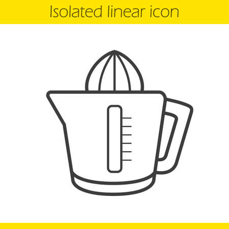 extractor: Juicer linear icon. Squeezer thin line illustration. Juice extractor contour symbol. Vector isolated outline drawing Illustration