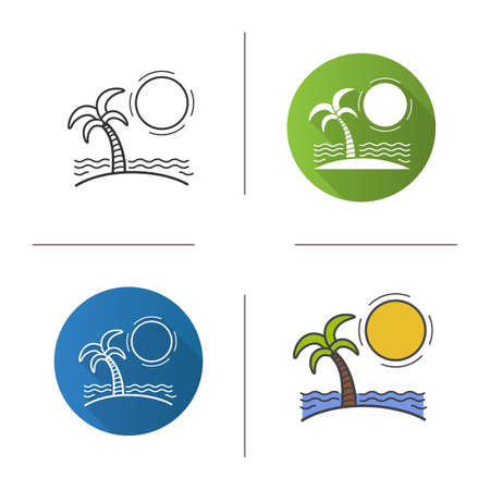 uninhabited: Island icon. Flat design, linear and color styles. Seashore. Beach isolated vector illustrations