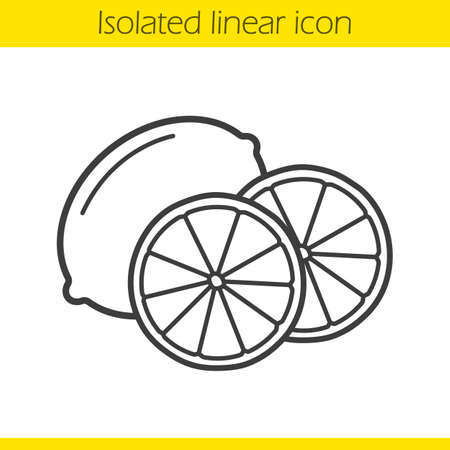 halved: Lemon linear icon. Halved tropical fruit. Citrus thin line illustration. Lime contour symbol. Vector isolated outline drawing Illustration