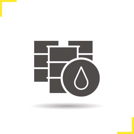 oil drum: Oil barrel icon. Drop shadow silhouette symbol. Oil drum vector isolated illustration