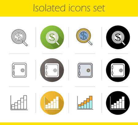 search box: Banking and finance icons set. Flat design, linear, black and color styles. Investments search, safe deposit box, income growth chart. Isolated vector illustrations