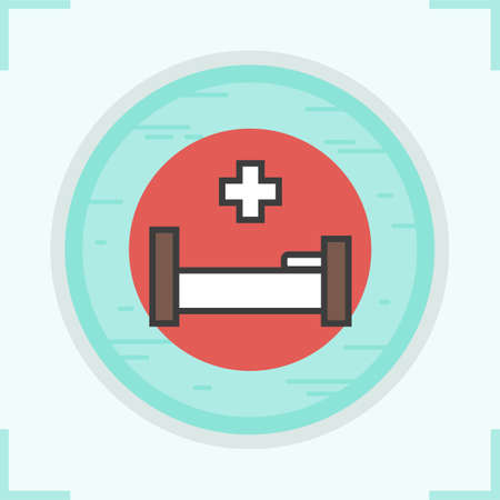 Clinic bed color icon. Treatment symbol. Medical cros sign. Field hospital. Hospitalization emblem. Vector isolated illustration