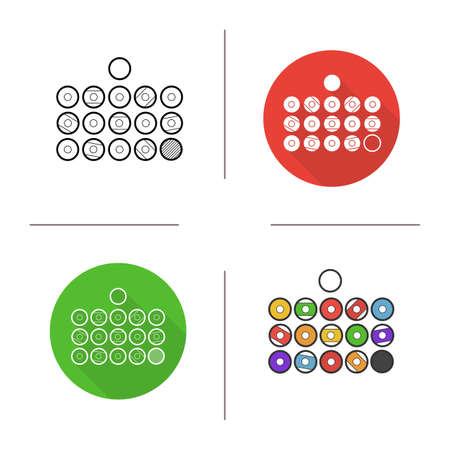 pool player: Billiard balls icon. Flat design, linear and color styles. Isolated vector illustrations Illustration