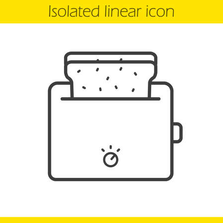 toasted: Toaster linear icon. Thin line illustration. Toasted bread contour symbol. Vector isolated outline drawing Illustration