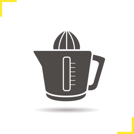 juice extractor: Juicer icon. Drop shadow juice extractor silhouette symbol. Squeezer. Vector isolated illustration