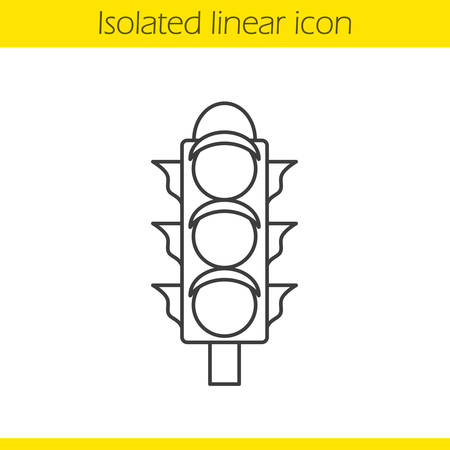 the stoplight: Traffic light linear icon. Stoplight thin line illustration. International Traffic Lights Day contour symbol. Vector isolated outline drawing Illustration
