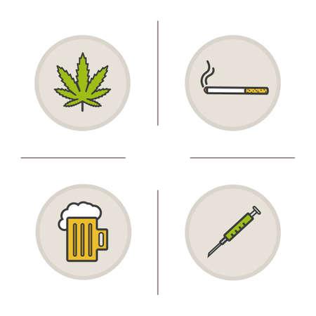 bad habits: Bad habits color icons set. Addictions. Marijuana leaf, cigarette, foamy beer mug, syringe. Drugs, alcohol and smoking symbols. Vector isolated illustrations Illustration
