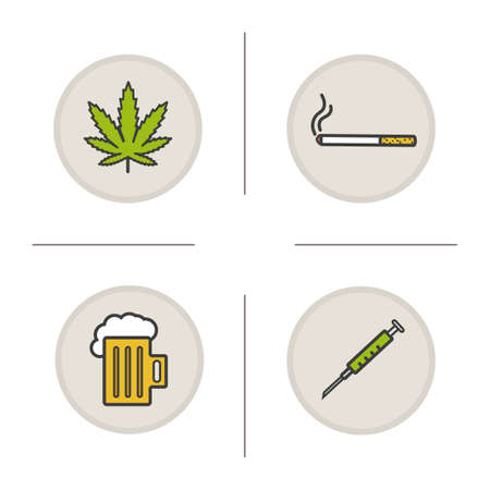malos habitos: establecen los malos hábitos iconos de color. Adicciones. hoja de marihuana, cigarrillos, jarra de cerveza espumosa, jeringa. Drogas, alcohol y tabaco símbolos. aislado ilustraciones vectoriales