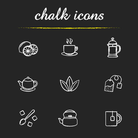 Tea icons set. Lemons, steaming cup on plate, french press, teapot, loose tea leaves, refined sugar cubes, kettle, mug with teabag illustrations. Isolated vector chalkboard drawings