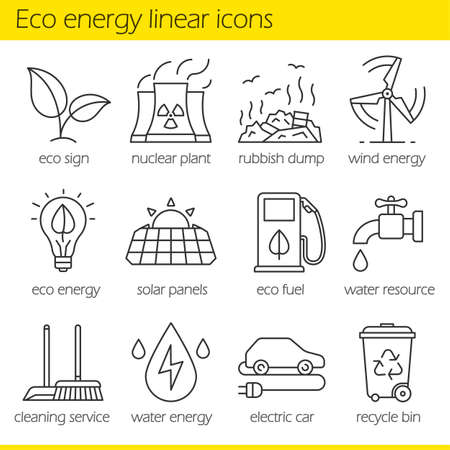 rubbish dump: Eco energy linear icons set. Electric car, nuclear plant, rubbish dump, wind power, solar panels, green energy, water resource, bio fuel, cleaning service. Thin line. Isolated vector illustrations