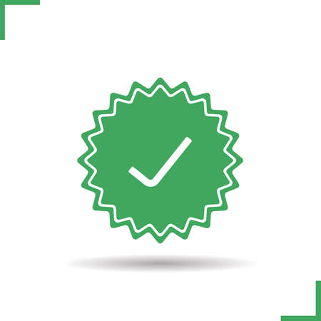 confirmacion: Aprobado icono de etiqueta. Gota de sombra símbolo de confirmación silueta. Acepta el banner. Vector ilustración aislada