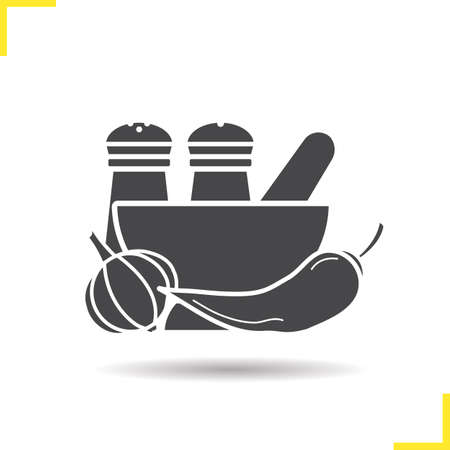 Spices icon. Negative space. Drop shadow silhouette symbol. Salt and pepper shakers, chilli, garlic, mortar and pestle. Vector isolated illustration