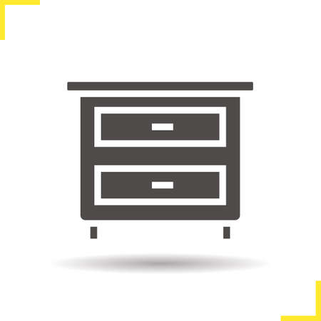 bedside: Nightstand icon. Drop shadow silhouette symbol. Bedside table with drawers. Vector isolated illustration Illustration