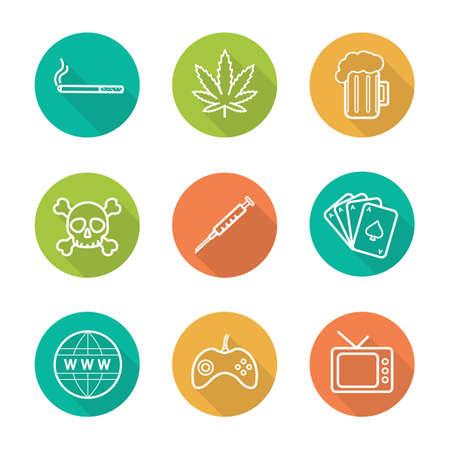 malos habitos: establecen adicciones planas iconos de largas sombras lineales. signos de fumar, alcohol, drogas, juegos, internet, televisión, juegos de azar. Cigarrillo, hoja de marihuana, cerveza, cráneo, palanca de mando, la jeringa. Los malos hábitos símbolos de línea vectorial