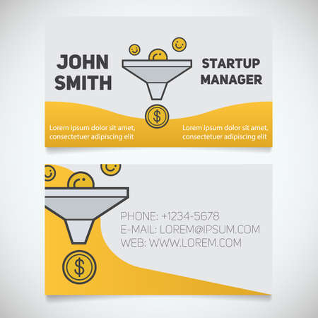 outflow: Business card print template. Startup manager. Sales funnel logo. Stationery design concept. Vector illustration