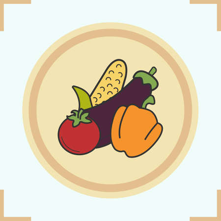bell pepper: Vegetables color icon. Grocery store items. Corn, eggplant, bell pepper, tomato on wooden plate. Vector isolated illustration