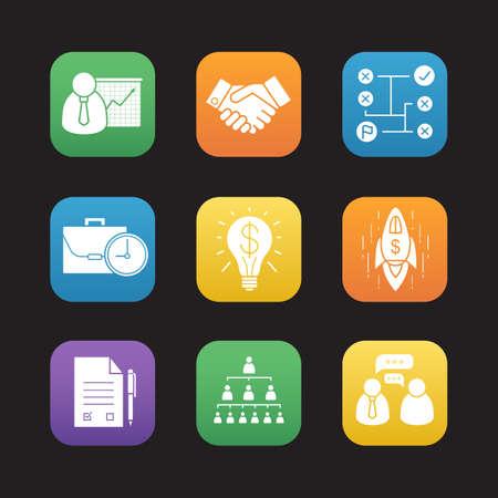 achievment: Business flat design icons set. Presentation with graph, text document with pen, handshake, company hierarchy, problem solving, goal achievement symbols. Web application interface. Vector